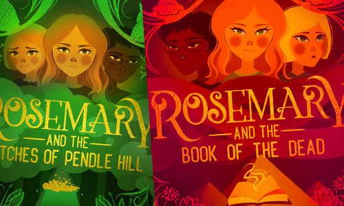 Rosemary and the Witches of Pendle and Rosemary and the Book of the Dead by Samantha Giles book covers